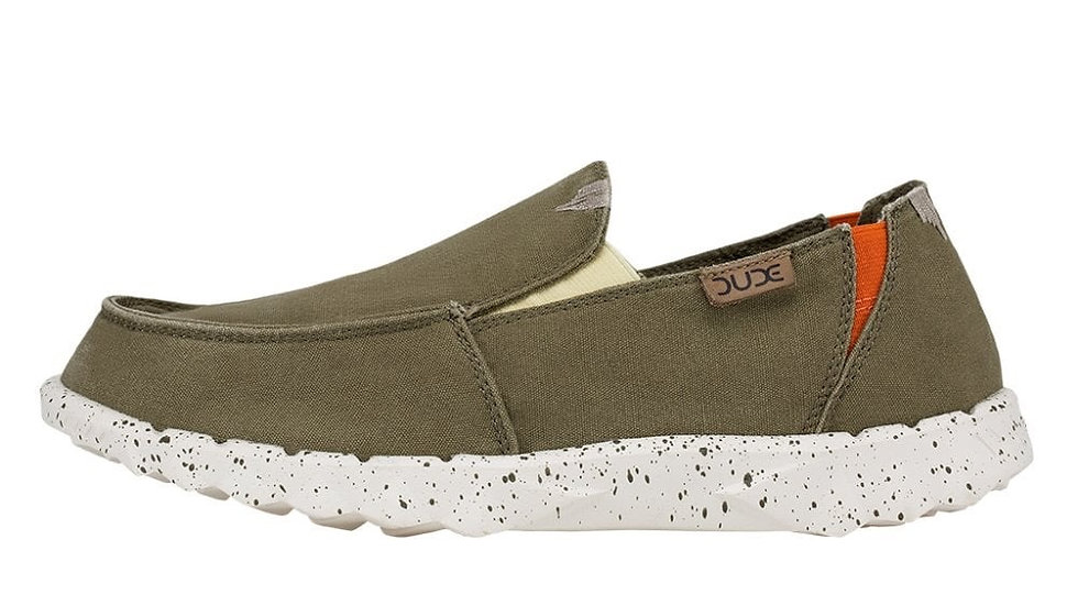 MENS HEY DUDE FARTY WASHED CANVAS CALAMATA OLIVE
