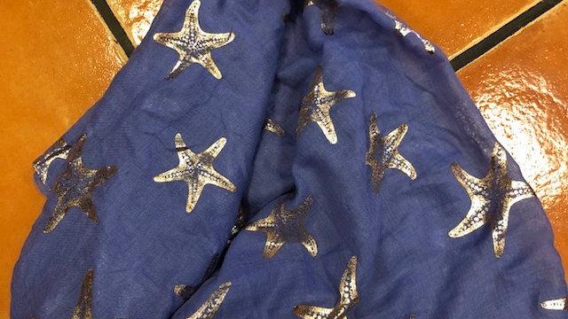 POM STARFISH SCARF BLUE