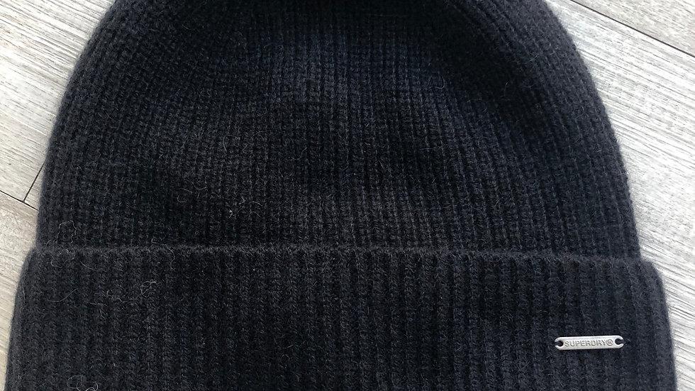SUPERDRY BLACK CASHMERE BEANIE HAT