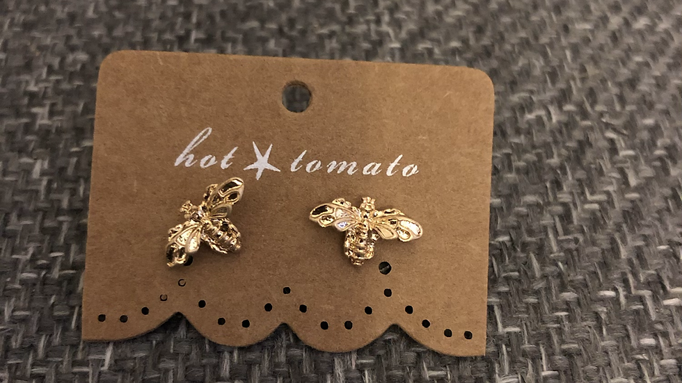 Honey Bee Studs Worn Gold