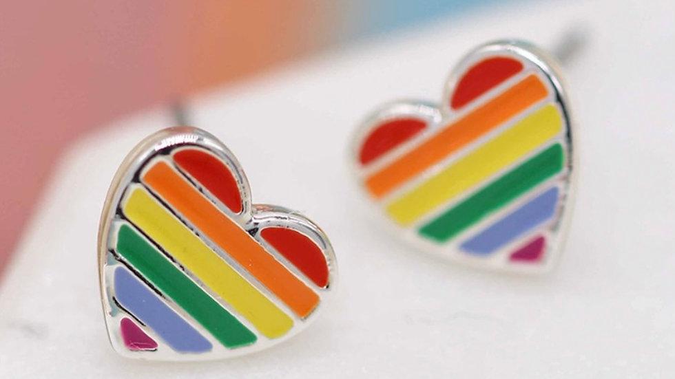 POM RAINBOW HEART STUDS