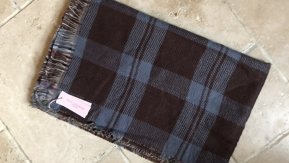 Miss Sparrow Blue Check Scarf