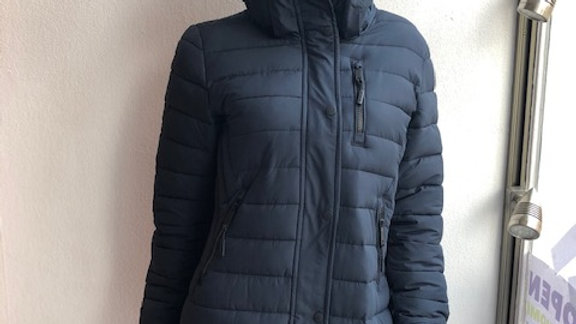 SUPERDRY NAVY HOODED COAT WITH REMOVABLE FAUX FUR TRIM
