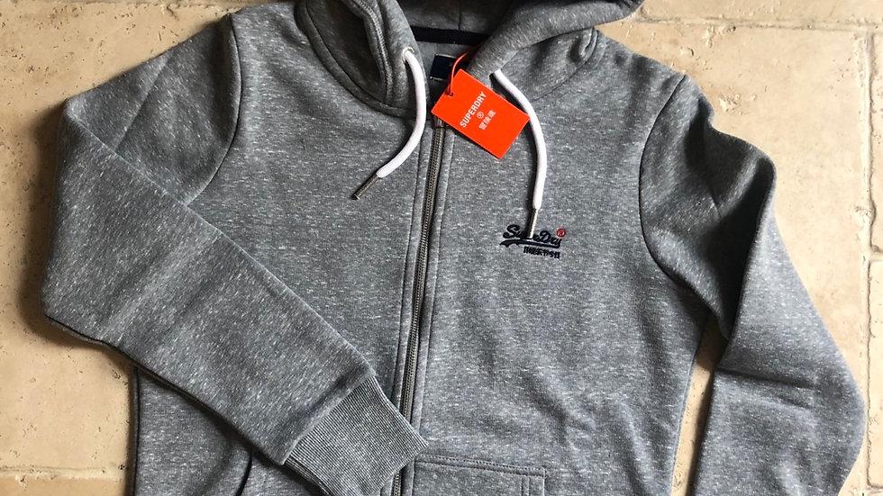 Orange Label Zip Hood Grey Snowy