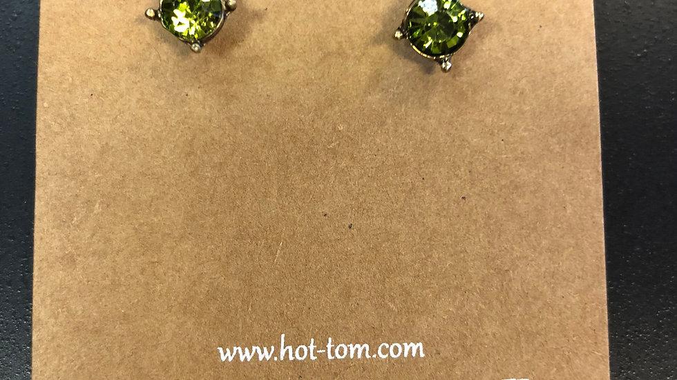 HOT TOMATO CRYSTAL STUD EARRINGS
