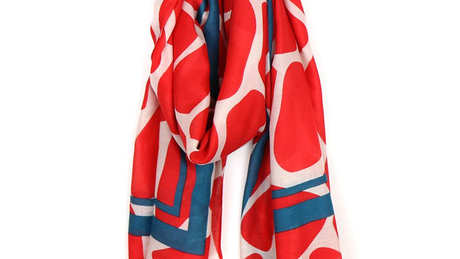 POM GRAPHIC SCARF RED