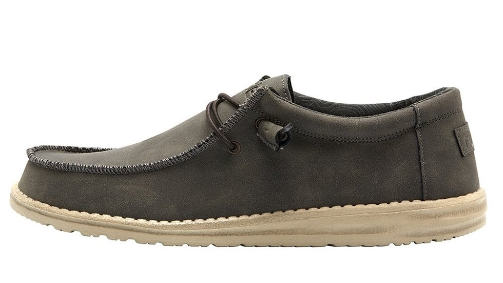 MENS HEY DUDE WALLY RECYCLED LEATHER COFFEE