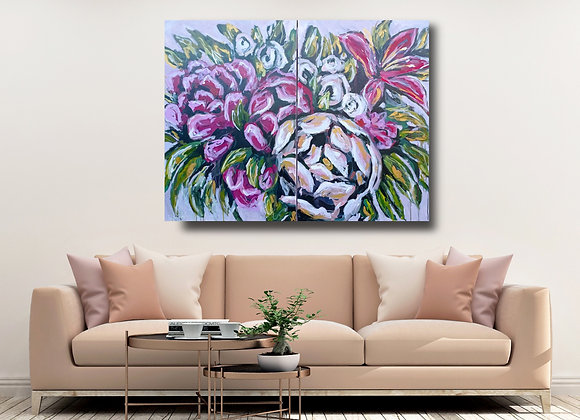 Abstract Peonies Diptych