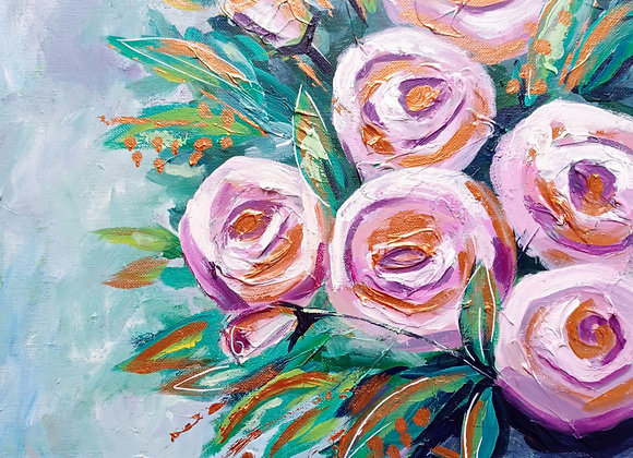 Pastel Roses With Gold