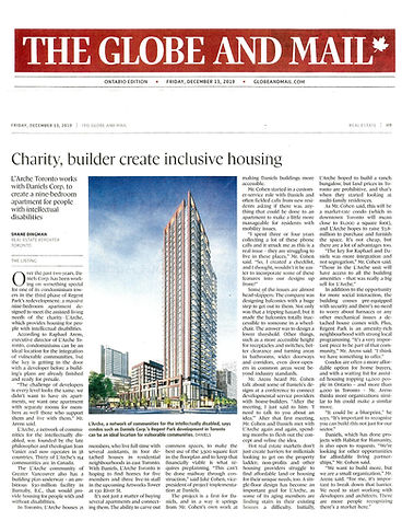 Article in Globe and Mail From Dec 13 2019