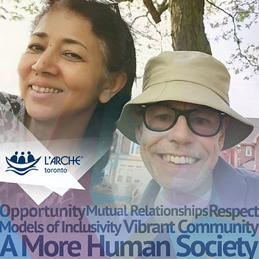 Brochure for L'Arche Toronto. Image of Smiling community members