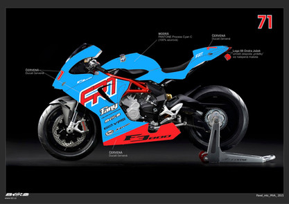 FRT racing team - kompletní design závodního motocyklového teamu. Helmy, kombinézy, motyocykly, auta, dodávky, přívěsy, oblečení ...