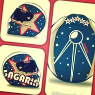 Grafické návrhy helmy v designu Gagarin. Následný přenos technikou airbrush na helmu zn. Simpson