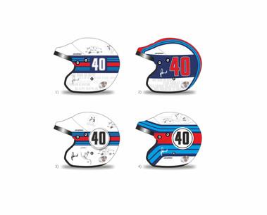 Martini racing - grafické návrhy a kresba technikou airbrush helmy zn. Arai