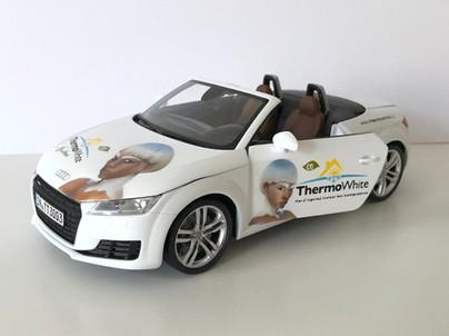 Model Audi TT v měřítku 1:18 namalován do designu firmy Thermowhite