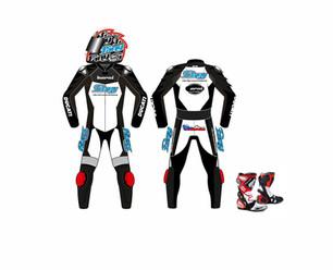 Ondra Ježek - grafické návrhy helmy a kombinézy jezdce Mistrovství světa superstock. 4ks přileb zn. Arai jsme nakreslili tecnikou airbrush a kombinézu vyrobila firma PSI Hubík