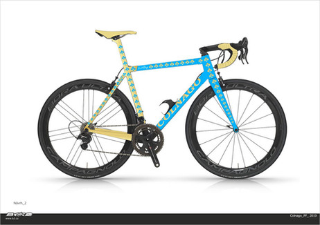 Grafický návrh, podle kterého se bude v továrně Colnago vyrábět kolo pro zákazníka