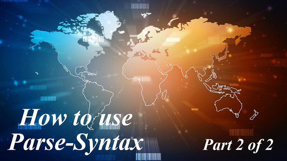 3.) How to use Parse-Syntax Part 2