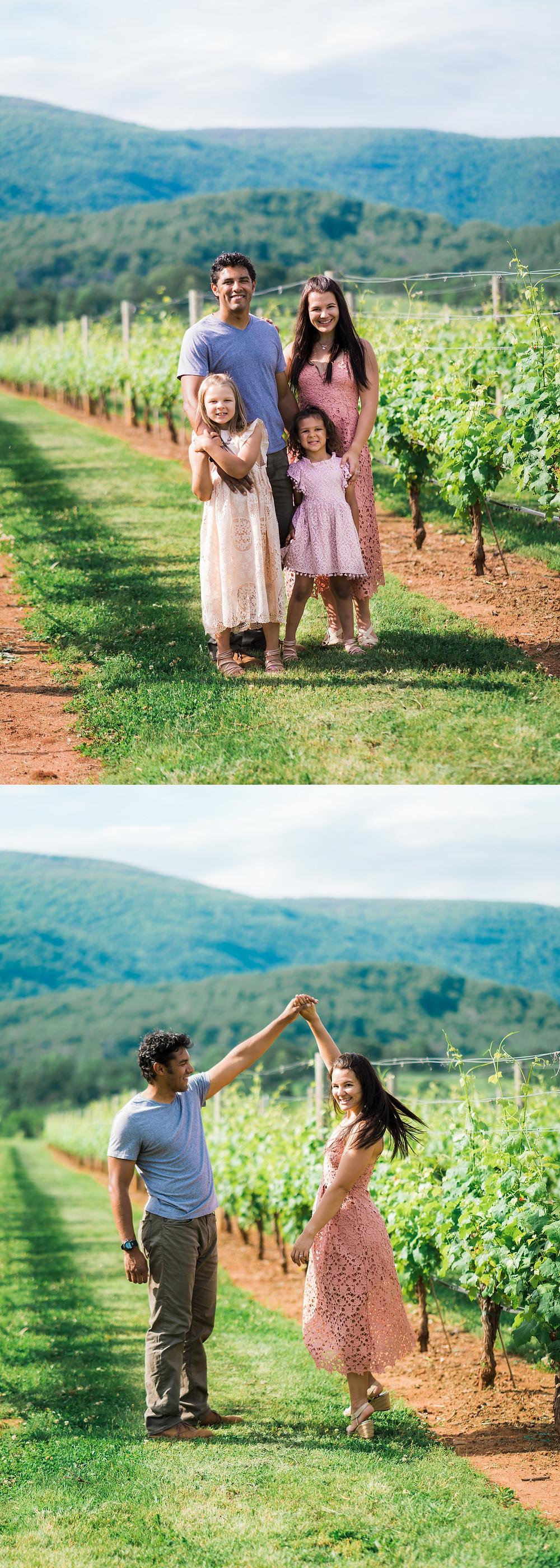 family at vineyard