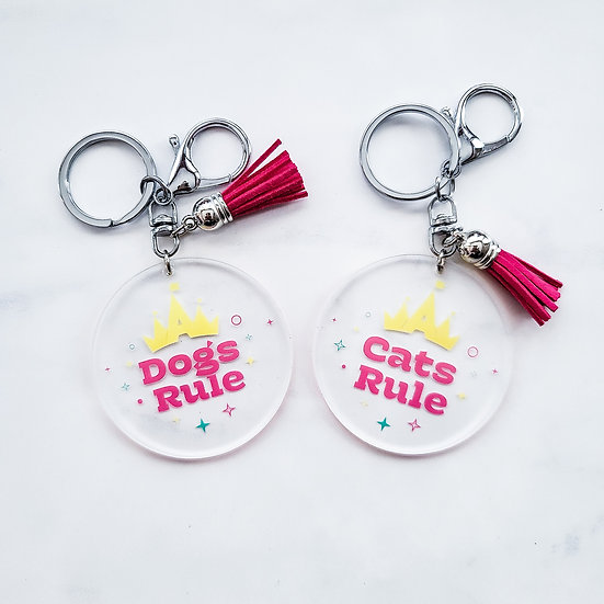 Dogs or Cats Rule Key Ring