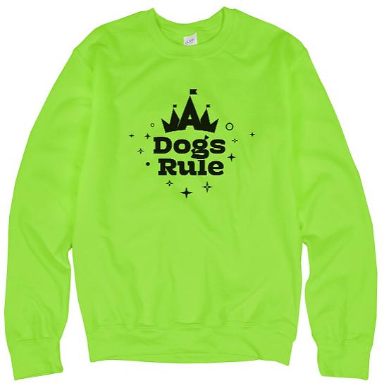 Dogs Rule Neon Crewneck Sweater (Unisex)