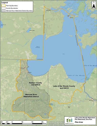 Map of the Lake of the Woods One Watershed One Plan area