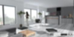 Stockholm, Sweden  apartment  living room with kitchen interior desgn