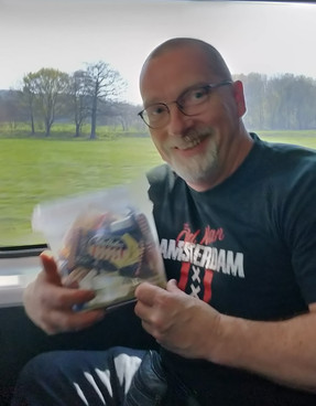 Jean grabs the sweets box on tour!