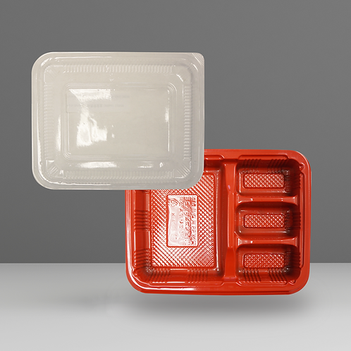 4 Compartment Bento Box + Lid (Plastic)