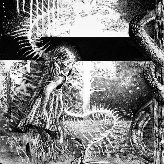 """""""Anxiety of the Viper Moon""""  Cover art for """"Anxiety"""", book series, by Padma Thornlyre  Pen and ink ©David Allen Reed 2018"""