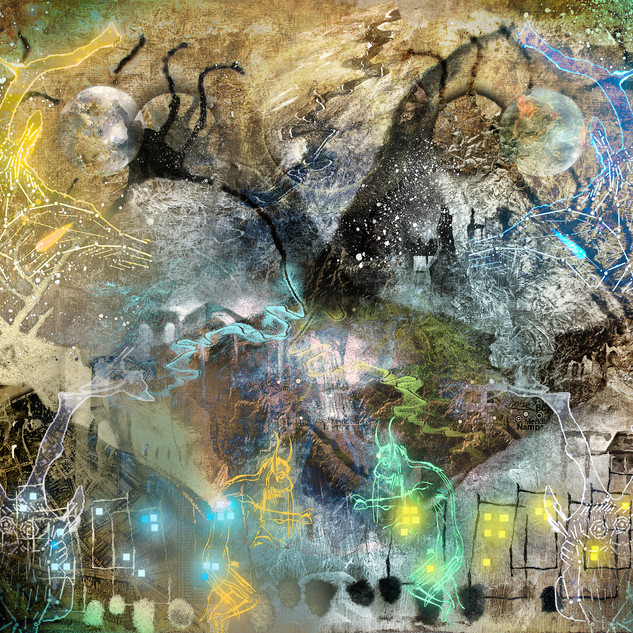 """""""Clan Between the Worlds"""" 2016 Mixed Media and digital painting for the unpublished book """"Brave New World Order"""", by Michael Annis ©David Allen Reed"""