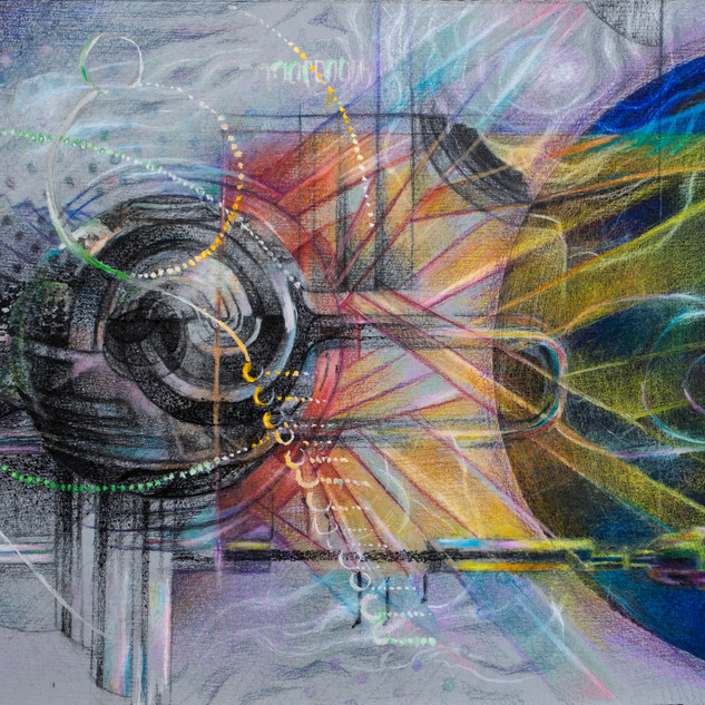 """""""Trumpet"""" 2015 colored pencil, acrylic and graphite for """"Quintet Dialogues:Translating Introspection"""", unpublished book collaboration with Felino Soriano ©David Allen Reed"""