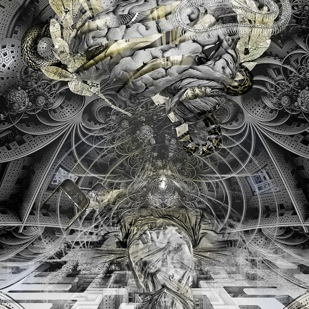 """""""Hypnopeadia"""" 2017 Mixed media on digital archival print for the unpublished book """"Brave New World Order"""", by Michael Annis ©David Allen Reed  Available online for purchase (link below)"""