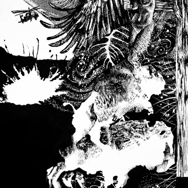 """""""Anxiety of the Blood-Dimmed Tide"""" Cover art for """"Anxiety"""", book series, by Padma Thornlyre  Pen and ink ©David Allen Reed 2018"""