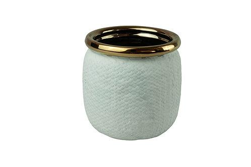 Vaso Decor em Cerâmica Branco com Dourado