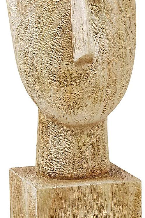 Escultura Face em Poliresina Cor Madeira G