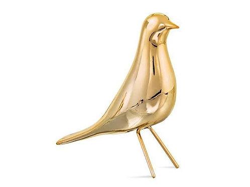 Pássaro Dourado Em Cerâmica P