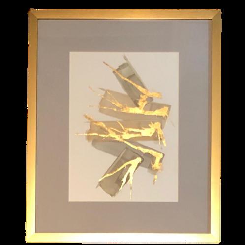 Pinceladas Aquarela Com Aplicação Em Folha De Ouro