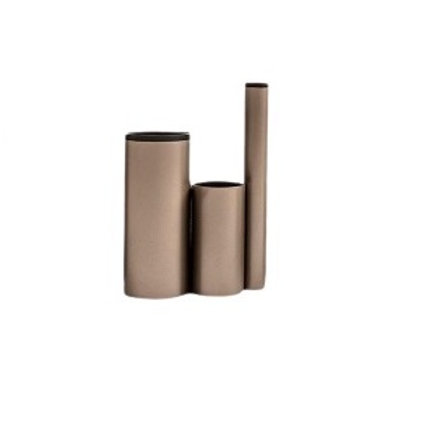 Vaso Pequeno Em Aço Carbono Perola e Preto