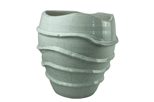 Vaso Decor Em Cerâmica Branco