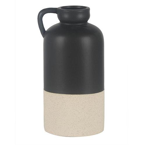 Vaso Estilo Jarra De Ceramica Preto E Branco G