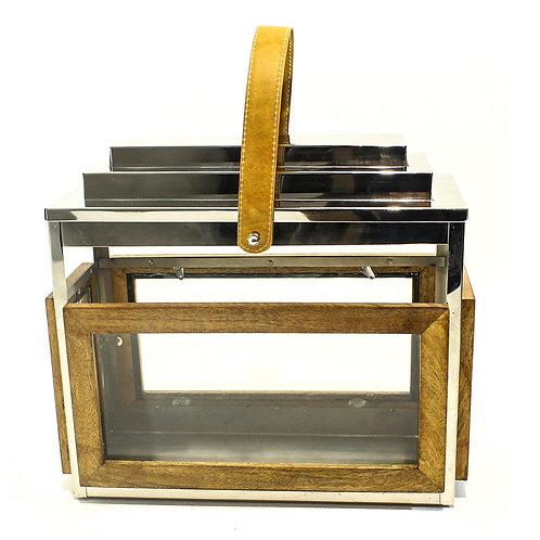Porta Vela De Metal E Vidro G