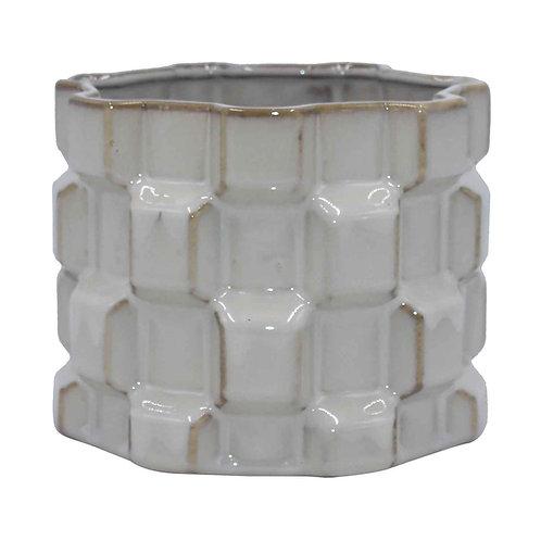 Vaso de Cerâmica Com Textura Geométrica Branco