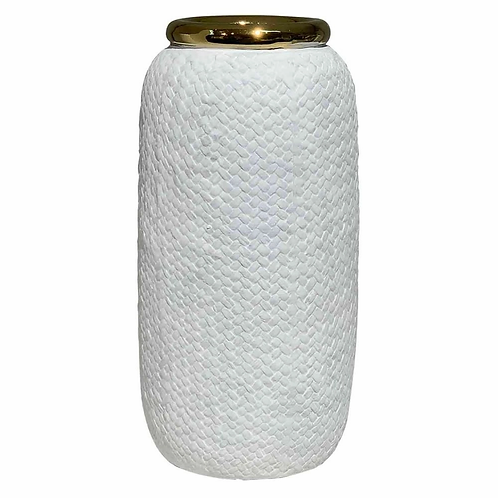 Vaso de Cerâmica Branco e Dourado G