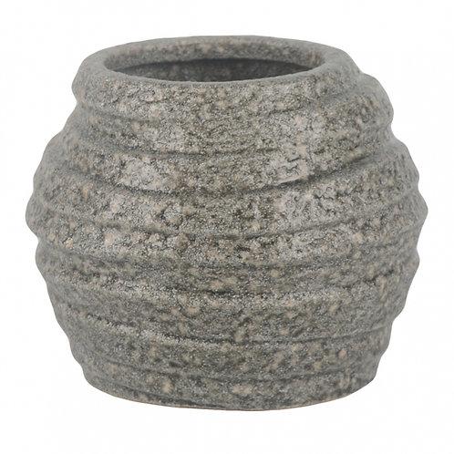 Vaso De Cerâmica Cinza Baixo