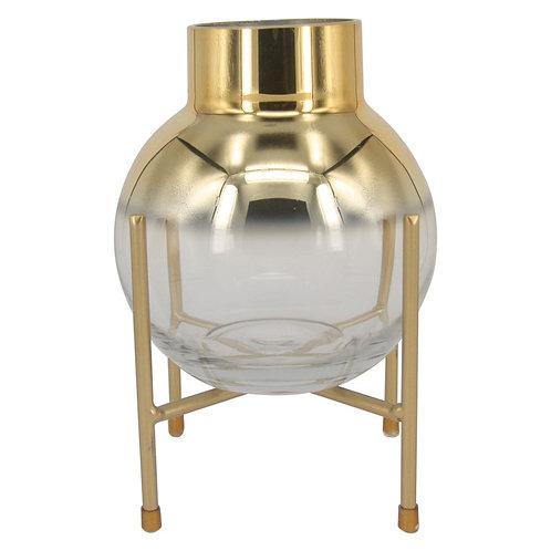 Vaso De Vidro Transparente Degrade Dourado E Base De Metal
