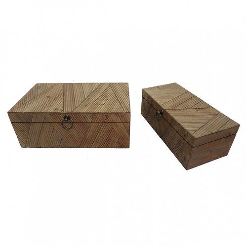Conjunto de Caixas de Madeira e Tecidos Marrom - 2 Peças