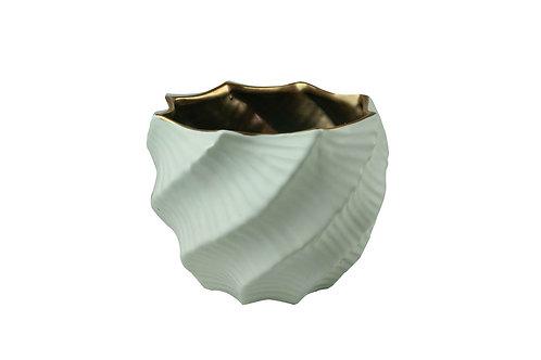 Vaso P Decor em Porcelana Branco e Dourado