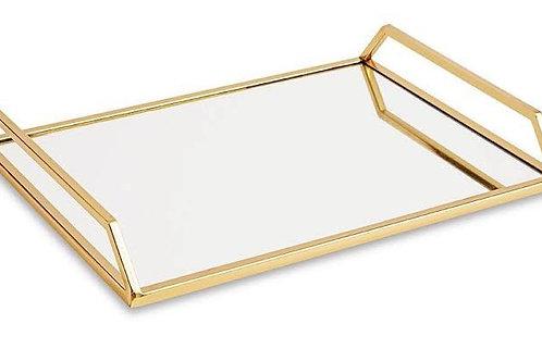 Bandeja Dourada em Metal com Espelho M