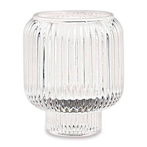 Porta Velas em Vidro com Friso Transparente